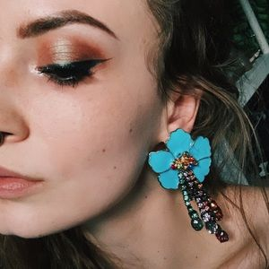Rainbow Floral Statement Jeweled Dangle Earrings